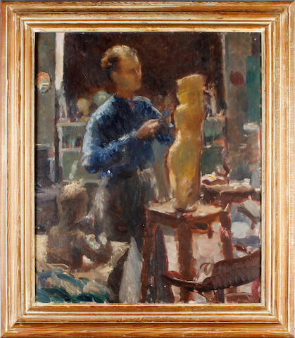 British School, 20th Century A sculptor at work in a studio
