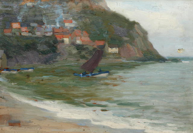Mark Senior (British, 1864-1927) Sailing boat off the coast