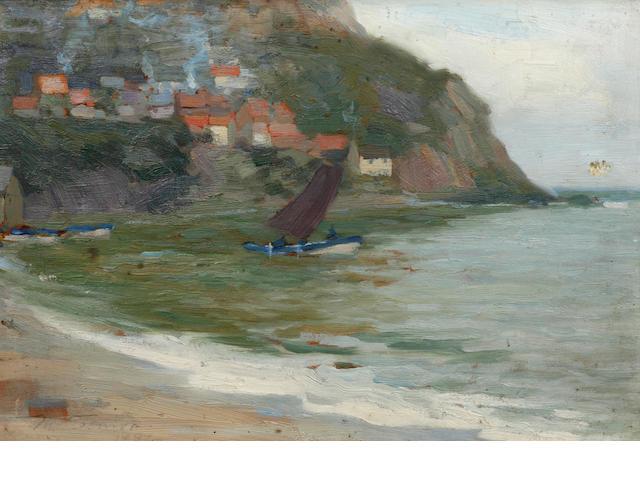 Mark Senior (British, 1864-1927) Sailing boat off the coast