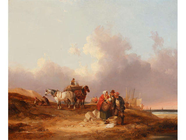 William Shayer, Snr. (British, 1787-1879) Coastal scene with numerous figures, beached fishing boats, a cart and two horses