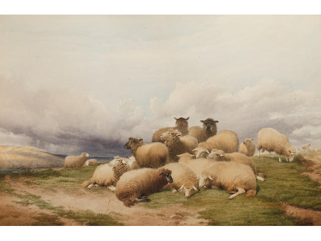 Thomas Sidney Cooper, RA (British, 1803-1902) A flock of sheep on a hilltop