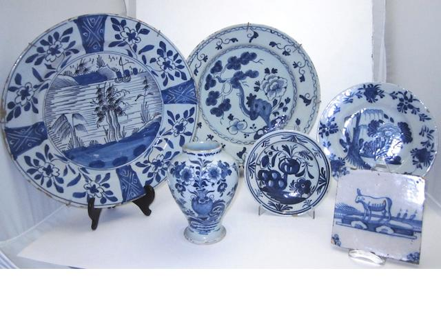 A small collection of blue and white Delft 18th century
