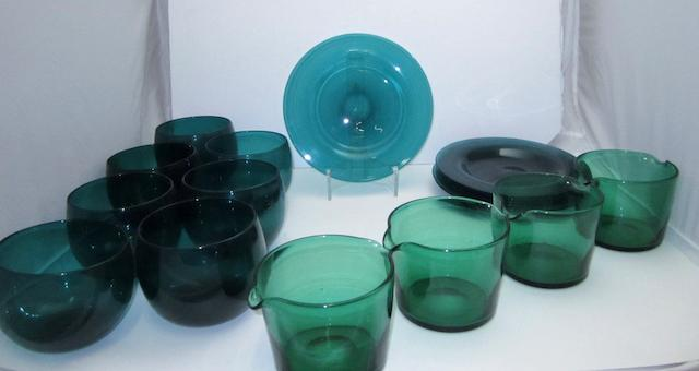 A collection of Victorian green glassware
