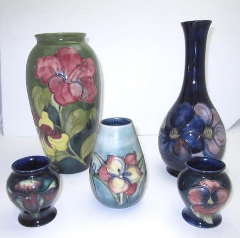 A collection of five Walter Moorcroft vases