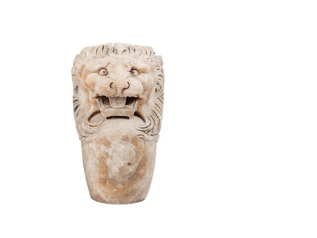 A Roman banded alabaster trapezophoros terminal  Circa 3rd Century A.D.