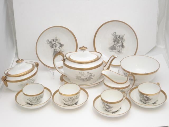 A Miles Mason bat printed part tea set Circa 1800