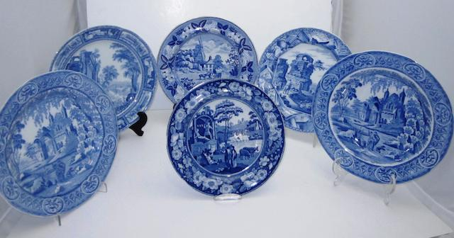 Six various blue and white transfer printed plates 19th century