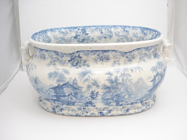 A blue and white foot bath Circa 1845