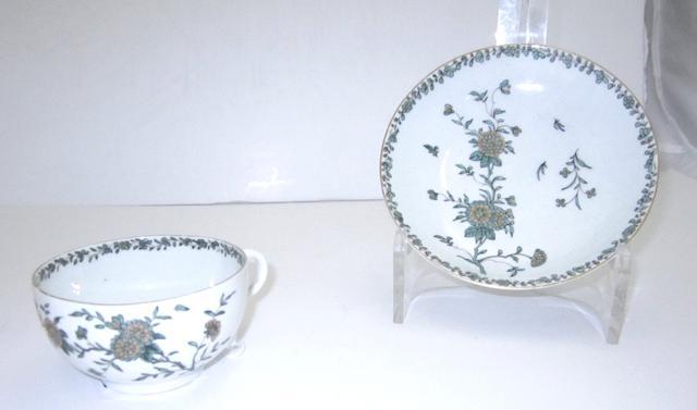 A Worcester camaieu vert cup and saucer Circa 1762-68