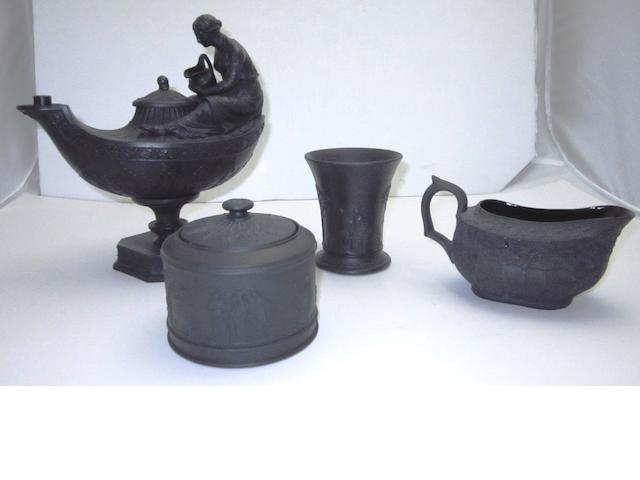 A Wedgewood black basalt oil lamp 19th century