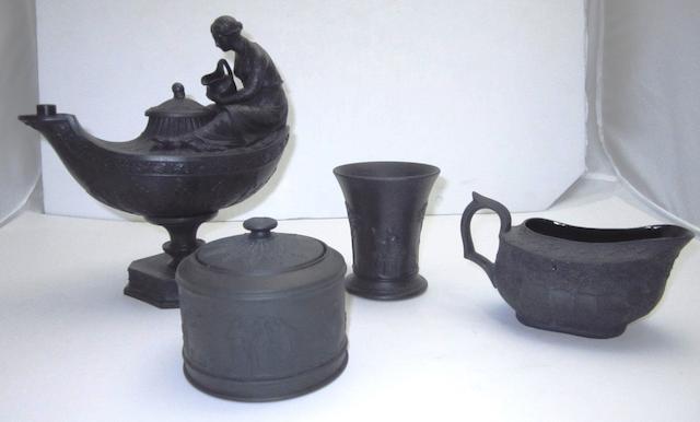 A Wedgewood black basalt oil lamp 19th century