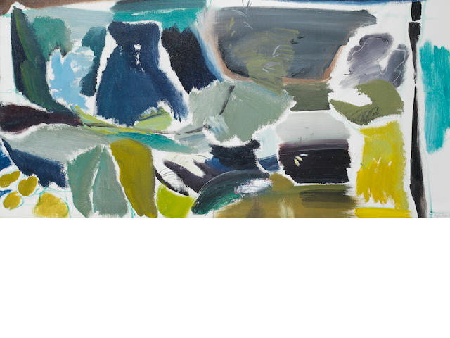 Ivon Hitchens (British, 1893-1979) Grey Sky over Grey Willows 51.7 x 105.5 cm. (20 3/8 x 41 1/2 in.)