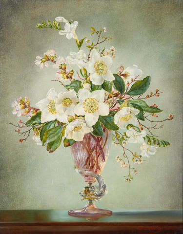 Cecil Kennedy (British, 1905-1997) Christmas Roses and Blossom, oil on canvas
