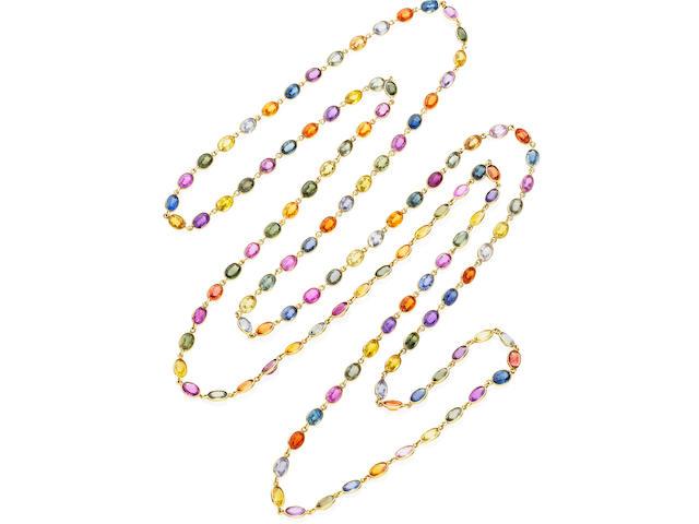A multi-coloured sapphire longchain