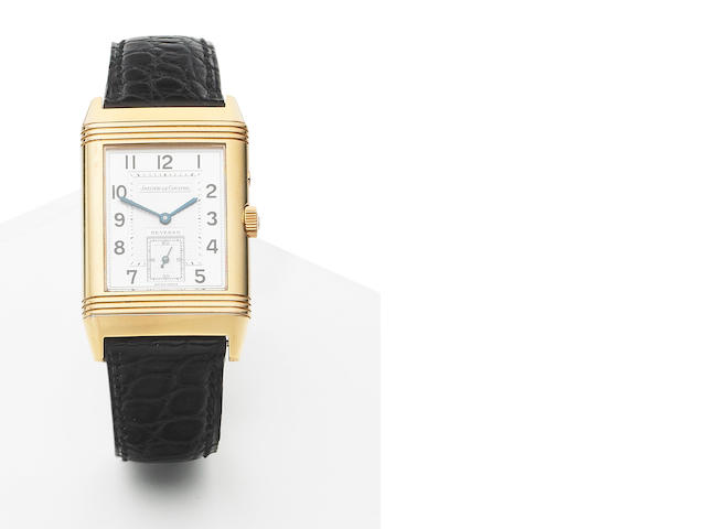 Jaeger Le Coultre. A fine 18ct rose gold manual wind dual sided reversible wristwatch