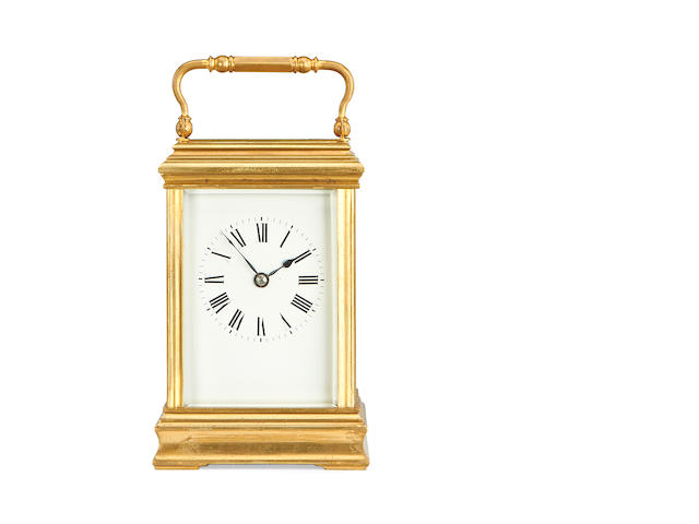 An early 20th century French brass carriage clock