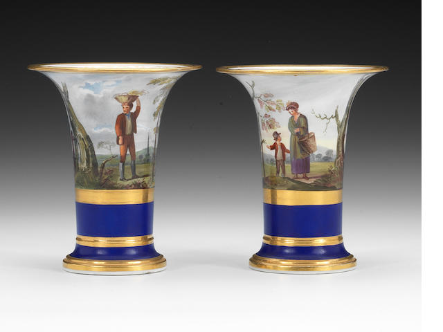 A pair of Flight, Barr & Barr trumpet vases