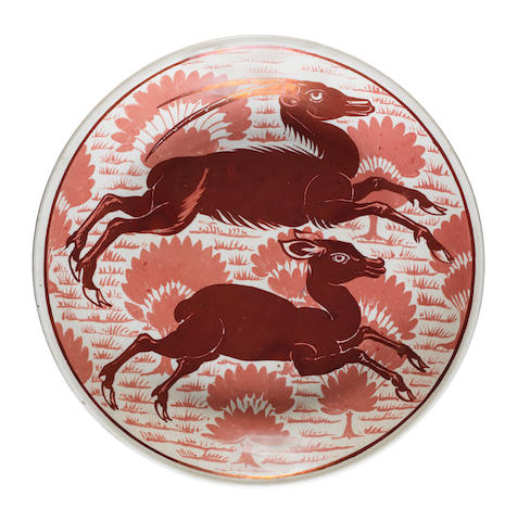 William De Morgan A Ruby Lustre Charger with Antelope Design, circa 1890