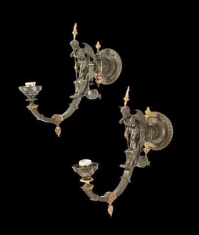 A pair of Victorian bronze and gilt bronze gasolier wall lights attributed to Thomas Messenger
