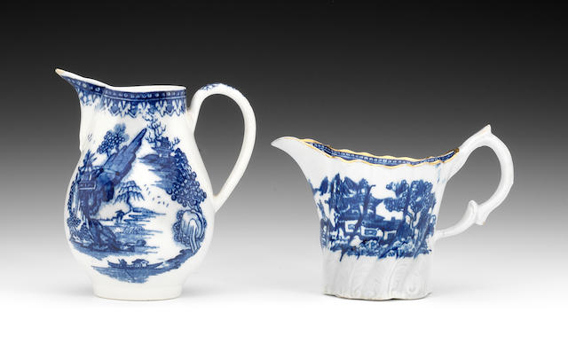 A New Hall or related Lion mark jug, blue printed decoration (filled chip) and a New Hall tall Chelsea ewer, blue printed