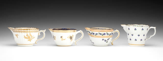 Four rare Caughley milk jugs, circa 1785-90
