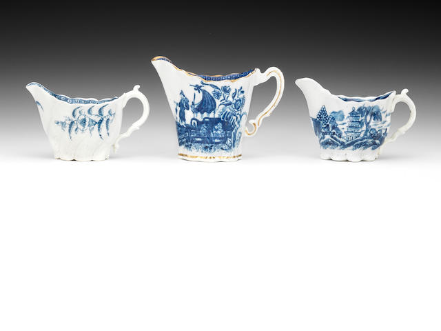 Three Caughley creamboats, circa 1780-90