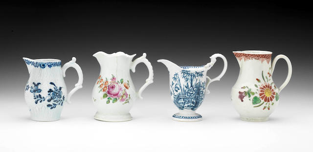 Four Liverpool milk jugs, circa 1760-80,