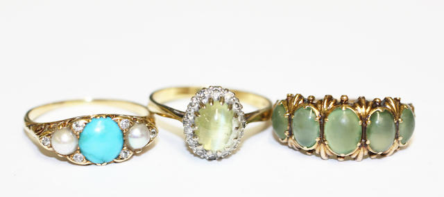 Three gem set rings, (3)