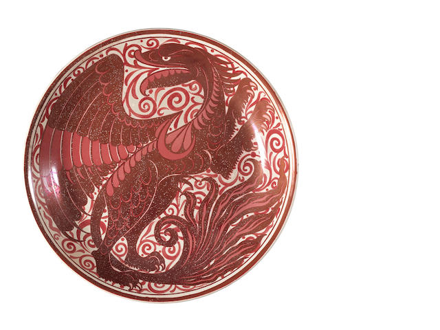 Charles Passenger for William De Morgan A Ruby Lustre Charger with Dragon, circa 1885