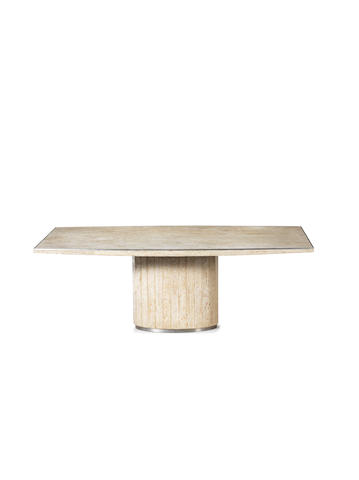 Willy Rizzo  Elliptical Table circa 1975  travertine with chromed steel trim  Height: 71 cm.                27 15/16 in.  Width: 200 cm.                78 3/4 in.