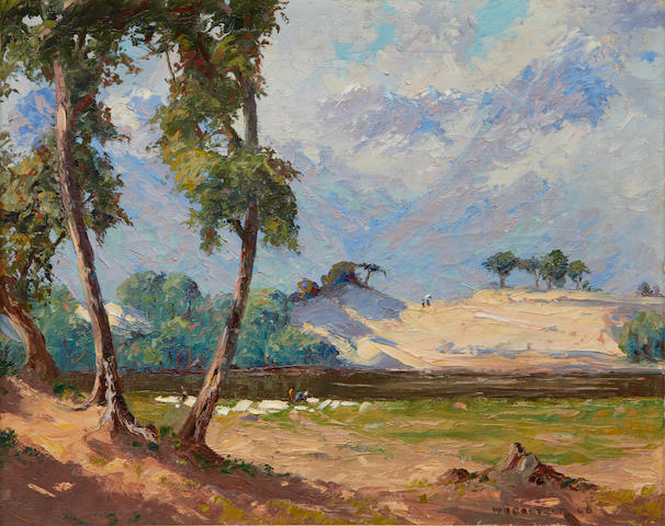 Willem Hermanus Coetzer (South African, 1900-1983) View of Berg river, Paarl