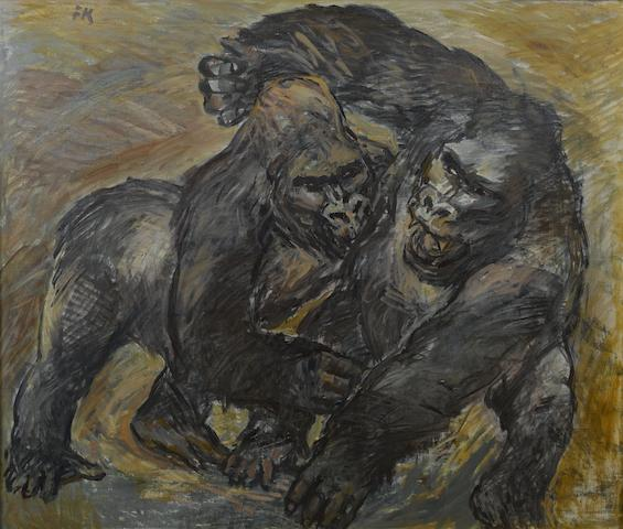 Fritz Krampe (South African, 1913-1966) Fighting gorillas