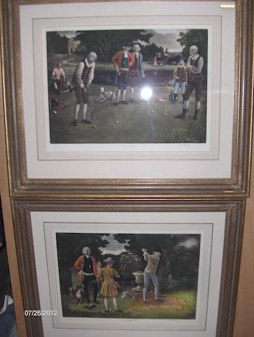 A pair of Golfing prints and two pairs of racing prints