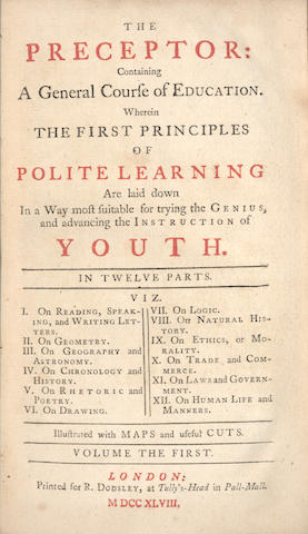 JOHNSON (SAMUEL, contributor) The Preceptor: Containing a General Course of Education, 2 vol., FIRST EDITION, 1748