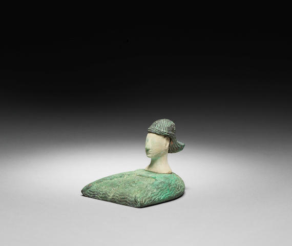 A Bactrian composite stone and bronze figure