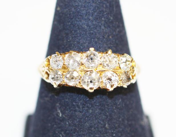 A diamond half hoop ring,
