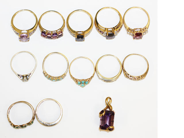 A collection of vari gem-set rings and a pendant, (13)