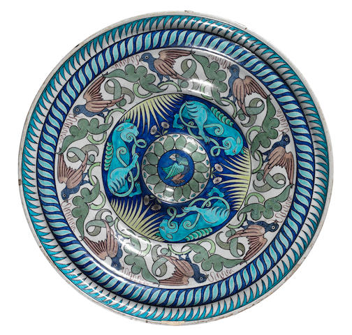 Charles Passenger for William De Morgan A Large Alms Dish with Beast and Bird Design, circa 1885