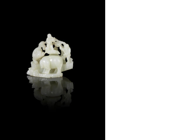 A white jade 'elephant' group 18th century