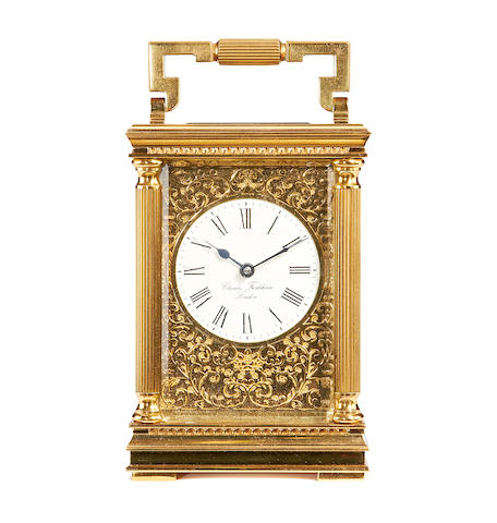 A mid 19th century English brass carriage timepieceby Charles Frodsham, London