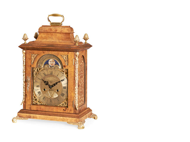 A late 19th / early 20th century George II style walnut bracket clock