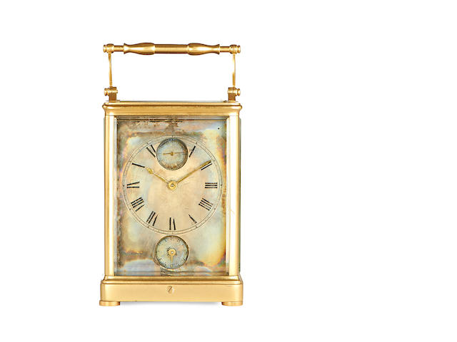 A mid 19th century French brass carriage clock with subsidiary seconds dial and alarm 2