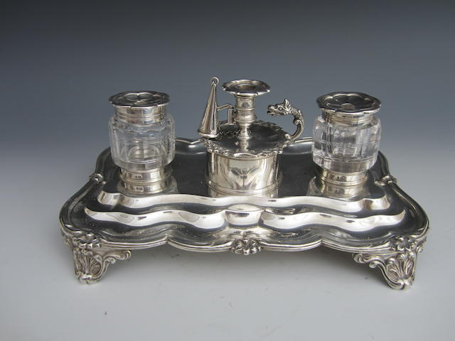 A William IV rectangular two-bottle inkstand by John and Joseph Angel, London 1834