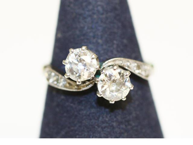 A diamond crossover ring,