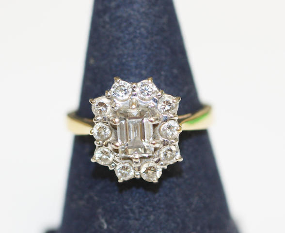 A diamond cluster ring,