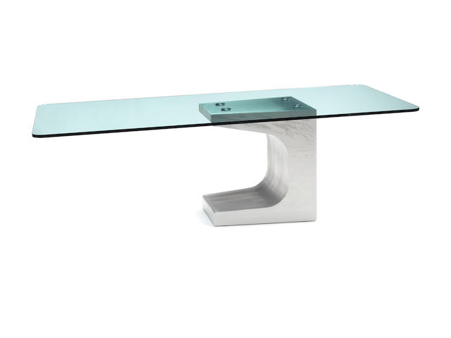 Oscar Niemeyer for Móveis Teperman Ltda Dining Table designed circa 1990  steel, wood and glass  74 by 230 by 110 cm. 29 1/8 by 90 9/16 by 43 5/16 in.