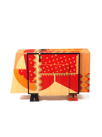 Alessandro Mendini for Studio Alchymia?? Calamobio Sideboard designed 1985  stained wood, marquetry???  edition of 6?  Height: 83 cm.                32 11/16 in. Width: 120 cm.               47 1/4 in.