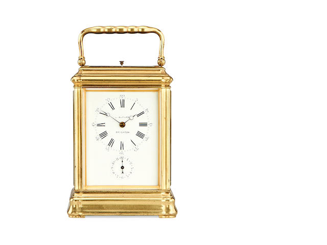 A late 19th century French grande sonnerie carriage clock J. Alford, Brighton, the movement numbered 7027