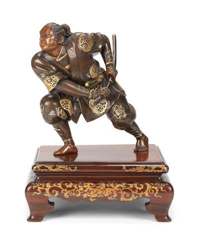 A gilt-bronze figure of a warrior By Miyao Eisuke, Yokohama, Meiji Period