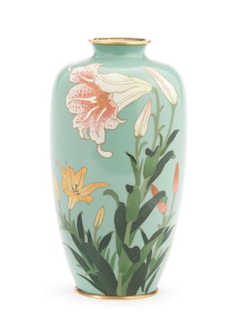 A cloisonné enamel baluster vase By Gonda Hirosuke, Meiji Period